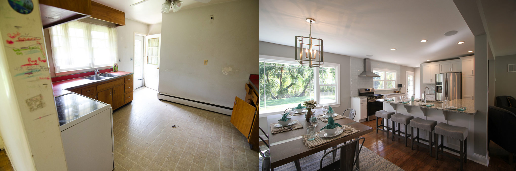 Kitchen and dining area before and after images