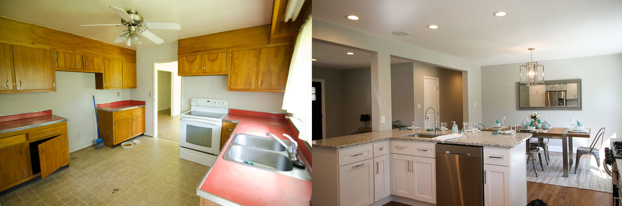 before and after kitchen and dining room