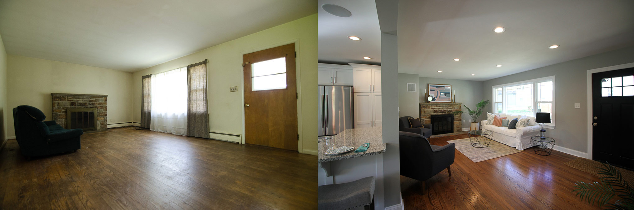 Living room before and after joppa road renovation and flip