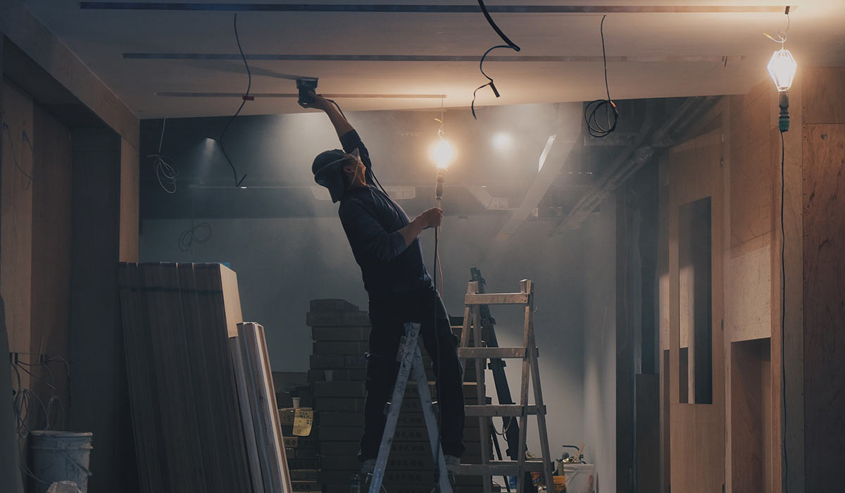 A contractor working on a renovation