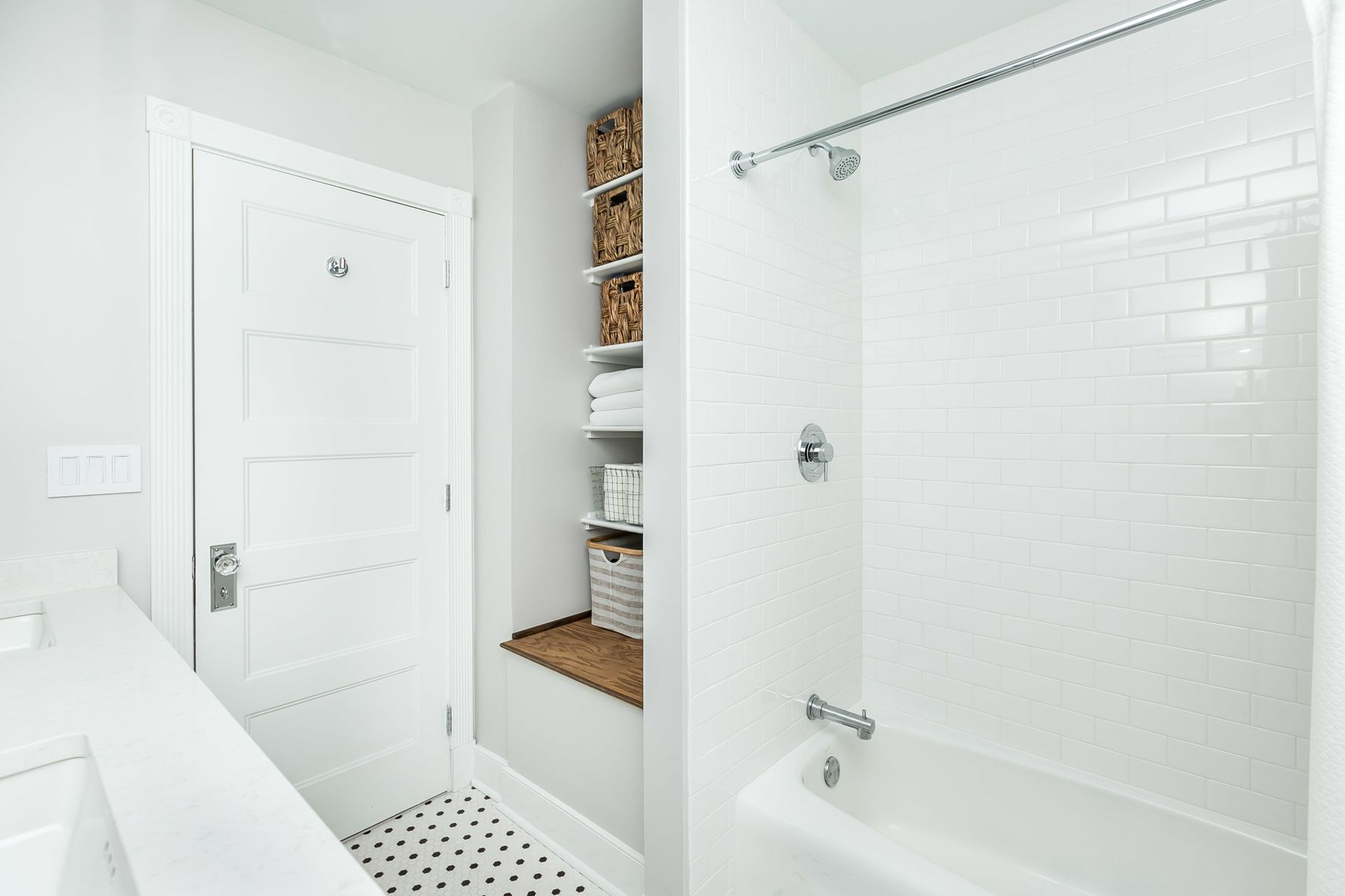View of new shower in home remodel