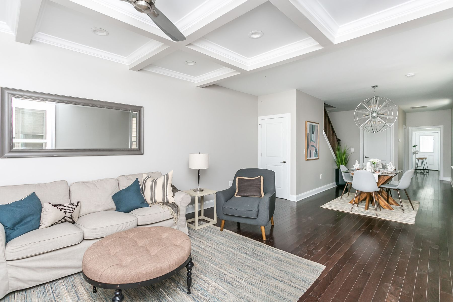 Alternate angle of living room and furniture in remodeled home
