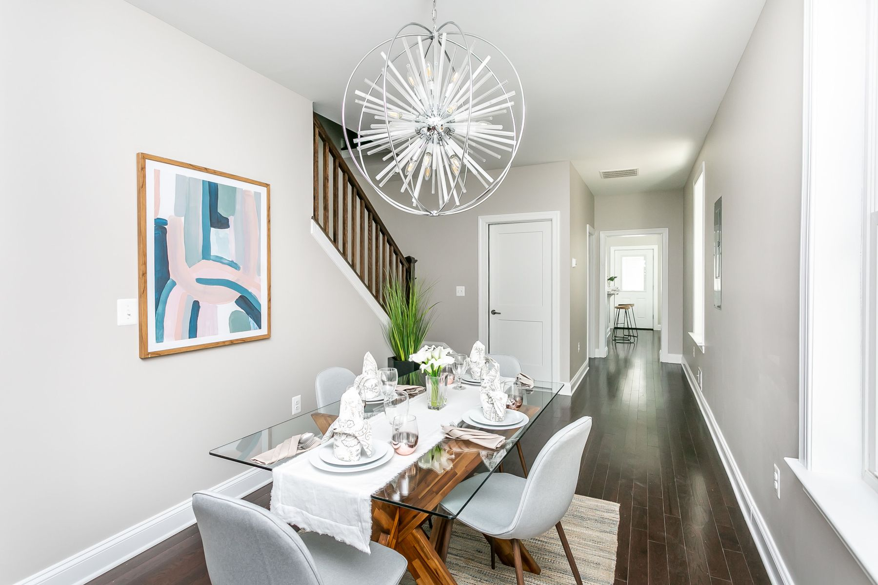 Dining room and table in renovated space