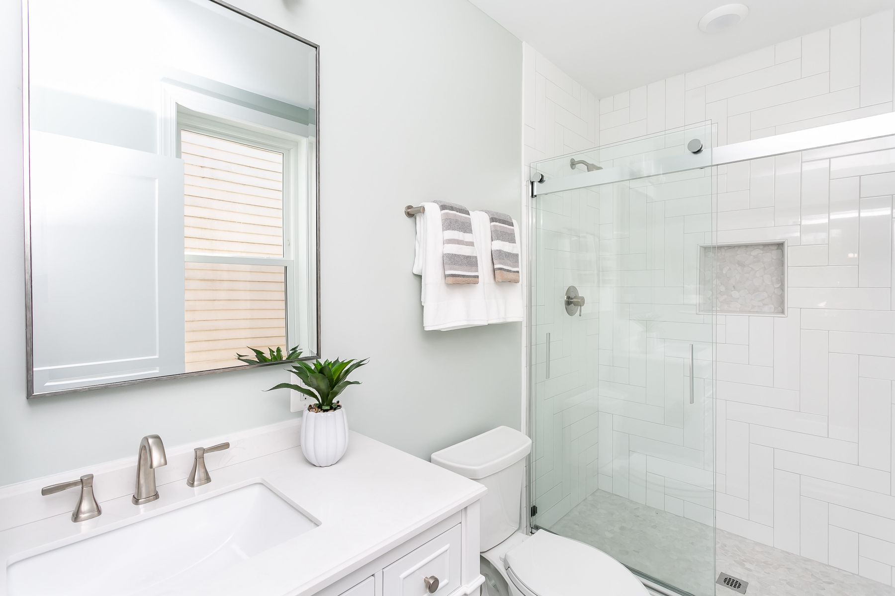 Large bathroom with expert tile work