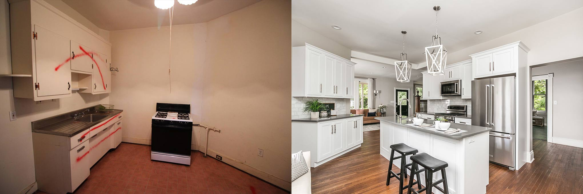 before and after of kitchen on seminary ave baltimore